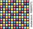 Smartphone app icon set seamless pattern background. Vector file layered for easy manipulation and customisation. - stock photo