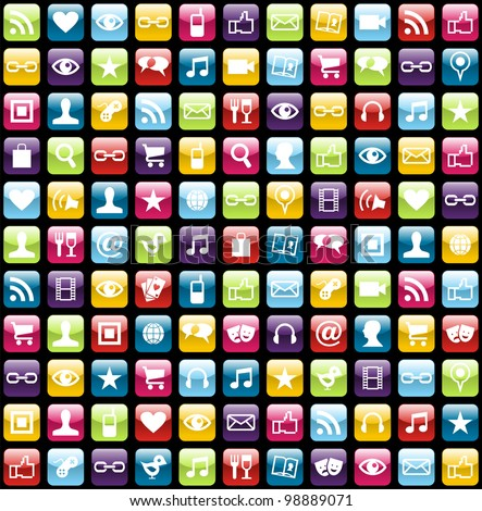 Smartphone app icon set seamless pattern background. Vector file layered for easy manipulation and customisation. - stock vector