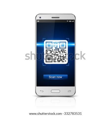 Smartphone  scanned QR code, vector - stock vector