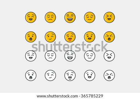 Smile icon set. Color and colorless. Line art. Stock vector.