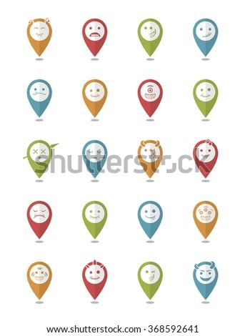 20 smiles vampires icons pointer set - stock vector