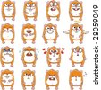 16 smiley hamsters individually grouped for easy copy-n-paste. - stock vector