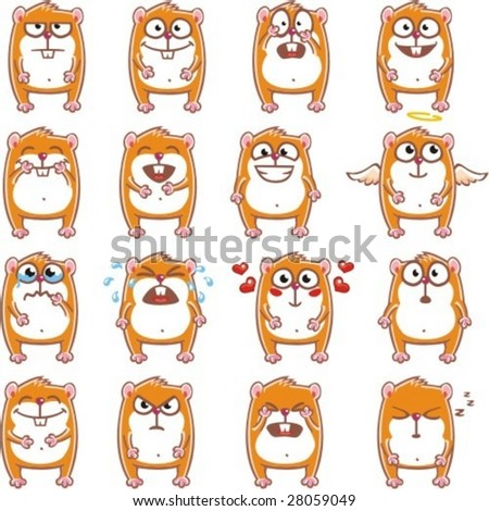 16 smiley hamsters individually grouped for easy copy-n-paste.