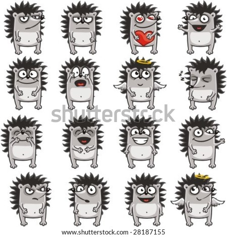16 smiley hedgehogs individually grouped for easy copy-n-paste.(1) - stock vector