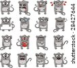16 smiley mice individually grouped for easy copy-n-paste. Vector. (2) - stock vector