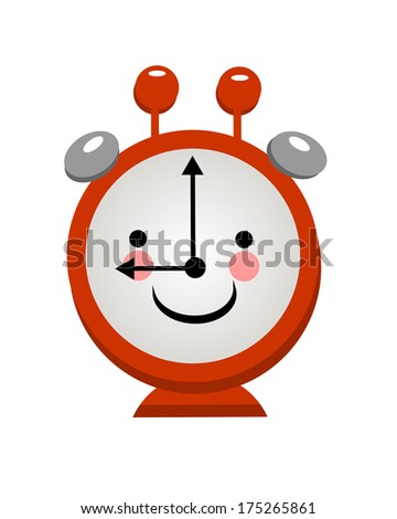Smiling alarm clock on a light background for your design