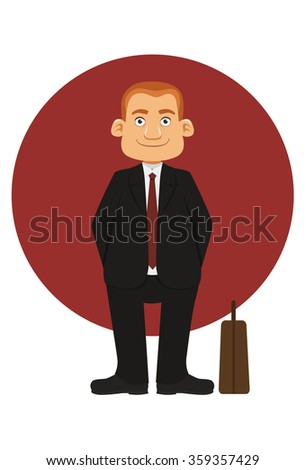 smiling businessman with a red circle background
