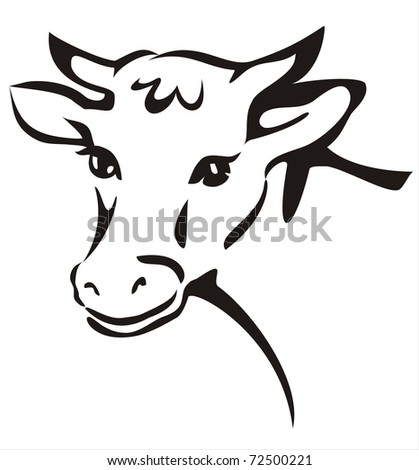 smiling cow portrait sketch in black lines - stock vector