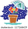 Snow and flower - stock vector