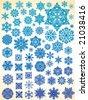 63 snowflakes - stock vector