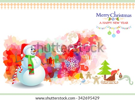 Snowman holding a present in a artistic background - stock vector