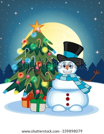 Snowman Wearing A Hat And Blue Scarf Waving His Hand With Christmas Tree  And Full Moon At Night Background For Your Design Vector Illustration - stock vector