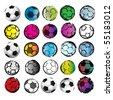 25 Soccer Balls - stock photo