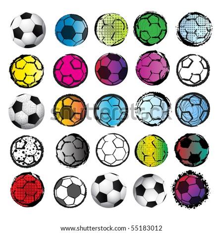 25 Soccer Balls - stock vector