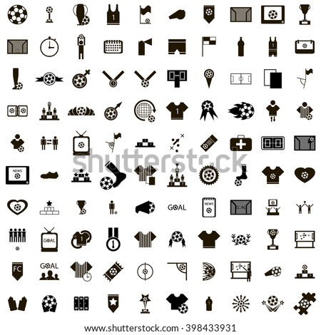 100 Soccer Icons - stock vector