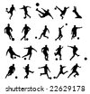 20 soccer poses silhouette. - stock vector