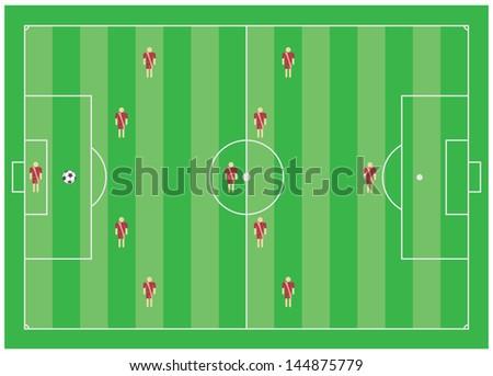 4-5-1 soccer tactical scheme - stock vector