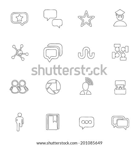 Social icons thin line drawing by hand Set 7  - stock vector