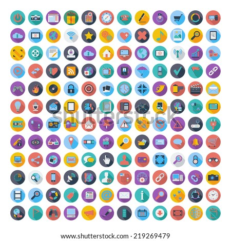 121 Social media and network icons. Vector illustration. - stock vector