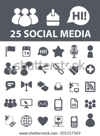 25 social media, blog, network, chat, community icons, signs set, vector