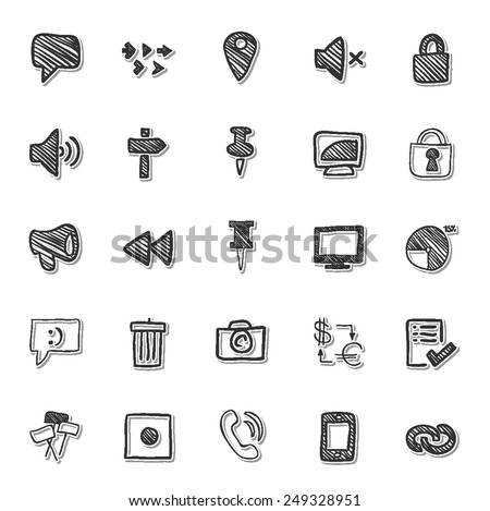 Social Media icon drawing by hand set 6  - stock vector