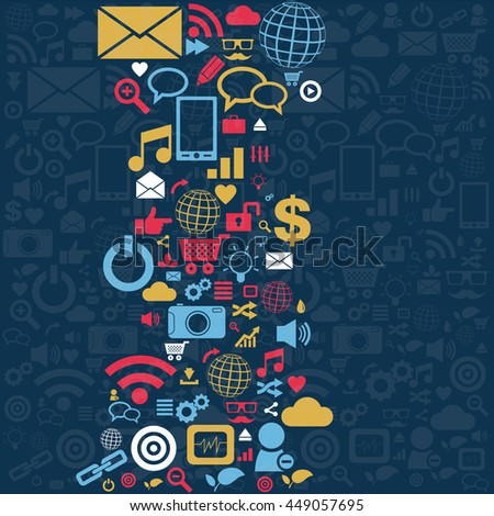 Social media icons set in wave shape layout vector illustration - stock vector