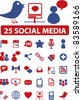 25 social media icons, signs, vector illustration set - stock vector