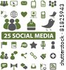 25 social media icons, signs, vector illustrations - stock