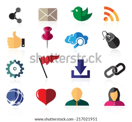 Social network icon set.  Sixteen color icons on a white background
