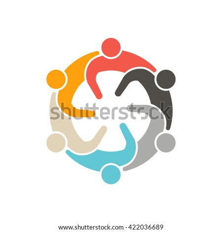 Social People Meeting 6 Logo. Vector graphic design illustration - stock vector