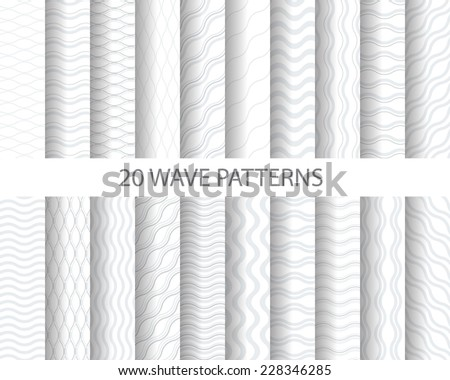 20 soft gray wave seamless  patterns, Pattern Swatches, vector, Endless texture can be used for wallpaper, pattern fills, web page,background,surface   - stock vector
