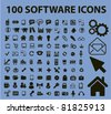 100 software icons, signs, vector illustrations - stock vector