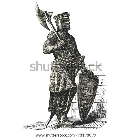 "Soldier Armor during the first Crusades era - vintage engraved illustration - ""Dictionnaire encyclop�©dique universel illustr�©"" By Jules Trousset - 1891 Paris - stock vector"