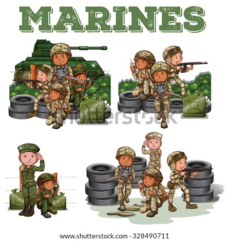 Soldiers with guns fighting illustration - stock vector