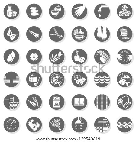 36 spa sauna pool relax body care monochrome isolated gray flat icon set with light shadow on white background - stock vector