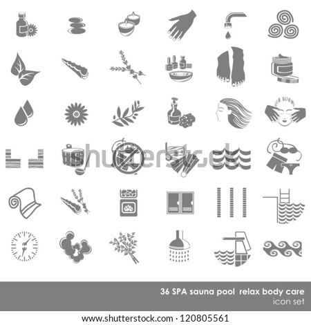 36 spa sauna pool relax body care monochrome isolated icon set on white background - stock vector