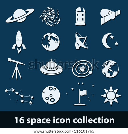 16 space icon collection - stock vector