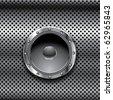 speaker with chrome mesh - stock vector