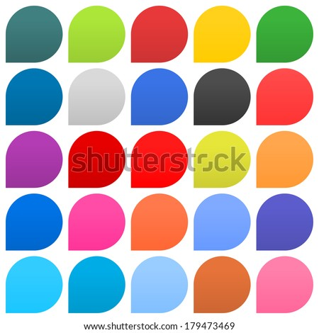 25 speech bubble sign web icon circle shape on white background. Empty buttons in popular soft colors. Newest flat simple modern minimal metro style. Internet design element vector illustration 8 eps - stock vector