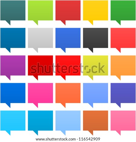 25 speech bubble sign web icon. Empty buttons painted in popular colors. Square shape on white background. Contemporary modern simple style. This vector illustration internet design element in 8 eps - stock vector