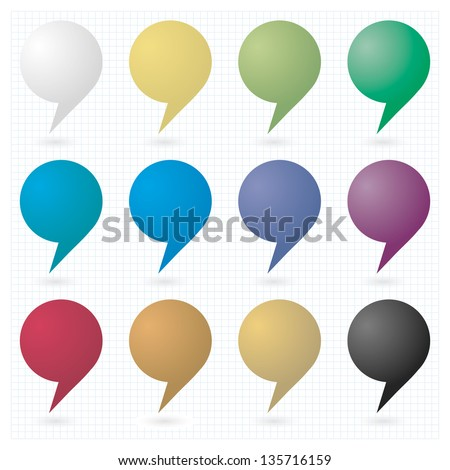12 speech bubble sign web icon. Empty buttons painted in various colors. dew drops shape on white background and grid. - stock vector