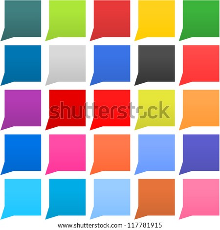 25 speech bubble web icon square shape. Flat empty buttons painted in solid, plain, monochrome color. Minimal contemporary modern metro simple style. Vector illustration internet design element 8 eps - stock vector