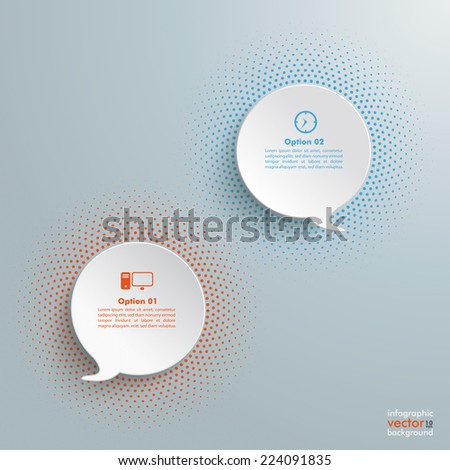 2 speech bubbles with halftone on the grey background. Eps 10 vector file. - stock vector
