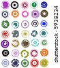 35 splatted Circle Graphic Elements (Circles have transparent centres etc so they can be overlaid on other graphic elements) - stock vector