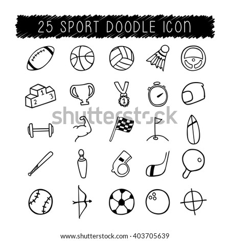 25 Sport icon doodle  - stock vector