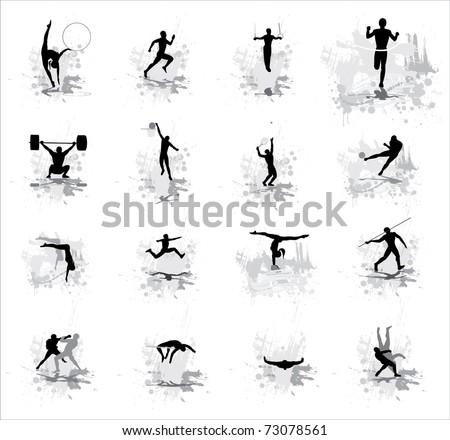 Sport peoples. Vector. - stock vector