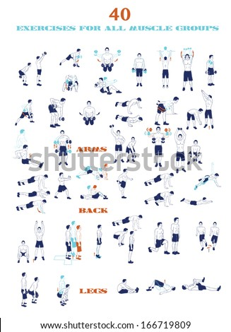 40 sport silhouettes .  Workout, man in shorts doing sport. Exercises - stock vector