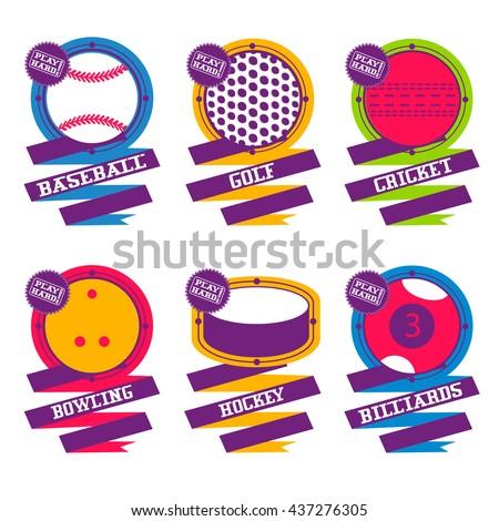 Sports Balls logo. Golf, hockey, billiard, baseball, bowling, cricket. - stock vector