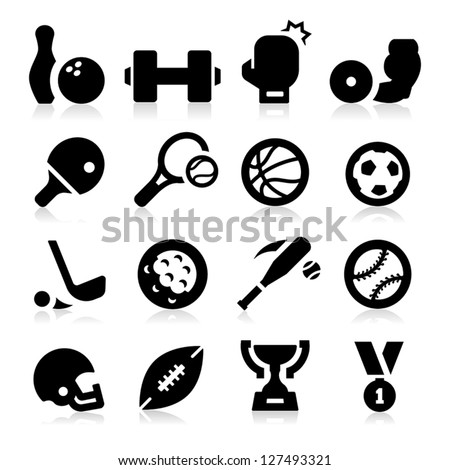 Sports Equipment Icons - stock vector