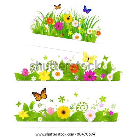 3 Spring Flower Bouquet, Isolated On White Background, Vector Illustration